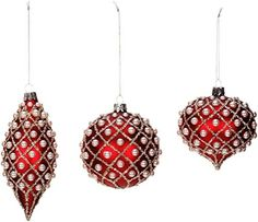 Mark Roberts Red with Beaded Pearl Like Accents Glass Christmas Ornament