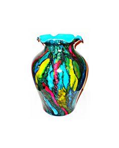 glass vase decor | multi color vase | colorful round vases | hand painted vase | centerpiece vase | wedding centerpiece | alcohol ink vase