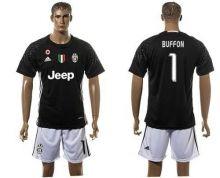 Juventus #1 Buffon Black Goalkeeper Soccer Club Jersey