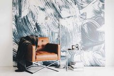Peinture murale de traits - grande murale, aquarelle peinture murale, papier peint graphique Illustration, 100 « x 108 »