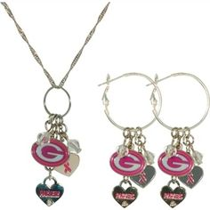 Pro Specialties Green Bay Packers Breast Cancer Awareness Necklace & Earring Set