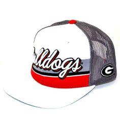 NCAA Georgia Bulldogs Men s B-Boy Adjustable Snapback Cap (White Grey 3433f970bd4