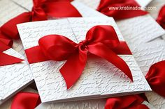 simple invitation (gatefold) with red bow