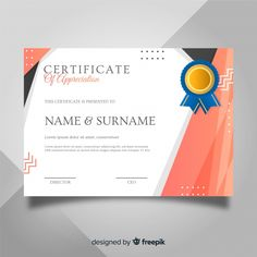 Certificate of appreciation Free Vector Certificate Background, Certificate Design Template, Certificate Of Appreciation, Lorem Ipsum, Vector Free, Abstract Template, Design Inspiration, Deco, Personality