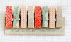 Washi tape covered clothpins