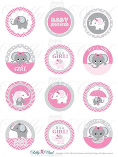 Pink Grey Girl Elephant Baby Shower Cupcake por adlyowlinvitations