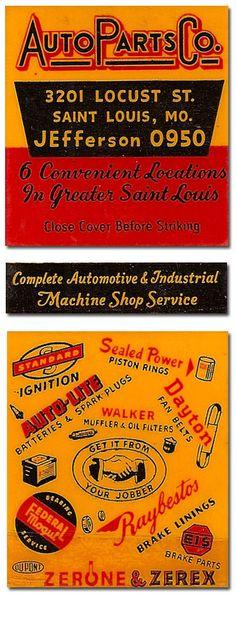 vintage Auto Parts Co. matchbook, St. Louis, Missouri