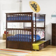 Shop Atlantic Furniture Columbia Walnut Full Over Full Bunk Bed with Twin Raised Panel Trundle with great price, The Classy Home Furniture has the best selection of Bunk Beds to choose from Queen Size Bunk Beds, Bunk Bed With Trundle, Wood Bunk Beds, Modern Bunk Beds, Bunk Beds With Stairs, Twin Bunk Beds, Kids Bunk Beds, Loft Beds, Modern Loft