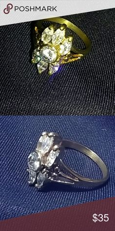 GOLD RING OVERLAY Sz 9.5 Ring has cubic zirconia design. Very rich quality. NWOT OTHER  Jewelry Rings