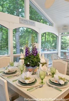 Spring or Easter Tablescape on Screened Porch | Between Naps on  the Porch
