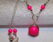 Neon Pink Pearl Necklace Wire Wrapped Jewelry Handmade Sterling Silver Hot Pink Swarovski Pearl Necklace Neon Pink Necklace
