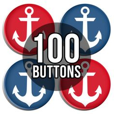 Red & Blue Anchors Gender Reveal Baby Shower Button Badges - 100 Pack