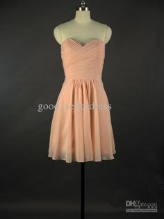 Wholesale Bridesmaid Dress - Buy 2014 Short A-Line Peach Bridesmaid Dress Sexy Chiffon Sweetheart Pleats Wedding Party Dress, $29.95 | DHgate