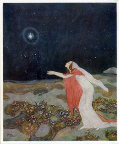 """""""The Stealers of Light"""", Edmund Dulac, 1916, watercolor. French illustrator from the Golden Age of Illustration in the early 20th century."""