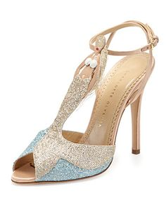 Siren Mermaid T-Strap Sandal, Blue/Green by Charlotte Olympia at Neiman Marcus.