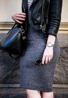 Striped Shirt and Pencil Skirt - Alexa Dagmar : Alexa Dagmar