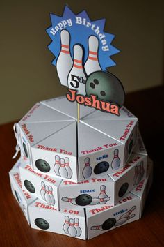 Bowling Birthday Party Cake Favor Box with 3D by bcpaperdesigns, $27.00