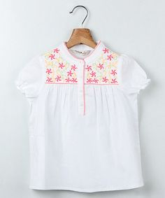 Love this White & Pink Flower Peasant Top - Infant, Toddler & Girls by Beebay on #zulily! #zulilyfinds