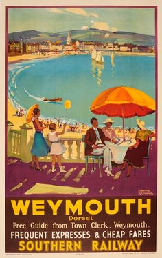 For Sale on - Original 1935 Southern Railway Travel Advertising Poster For Weymouth Dorset, Paper by Leonard Richmond. Offered by Antikbar Limited. Posters Uk, Train Posters, Railway Posters, Art Deco Posters, Poster Art, Retro Poster, Poster Prints, Art Prints, Tribal Tattoos