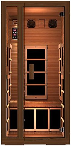 Saunas - JNH Lifestyles Freedom 1 Person Canadian Western Red Cedar Wood Far Infrared Sauna 6 Carbon Fiber Heaters 5 Year Warranty ** Check out this great product. (This is an Amazon affiliate link)