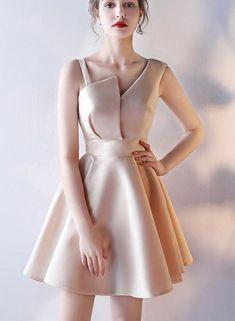 Charming Satin Cute Short Party Dress, Pretty Formal Dress, Party Dres – BeMyBridesmaid