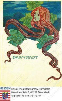 Darmstadt, Jugendstil / Frauengestalt, Kopfbild 1904