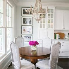 Grey French Cane Back Dining Chairs, Transitional, Dining Room