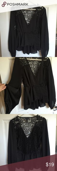 Nasty Gal Black Lace Wrap Blouse Top | New S 👽💖 Nasty Gal Black Lace Wrap Blouse Top | New with Tags size S lace detailing on back and long bubble sleeves 👽💖 size is too small for me butt don't want this cute piece to go to waste Nasty Gal Tops Blouses
