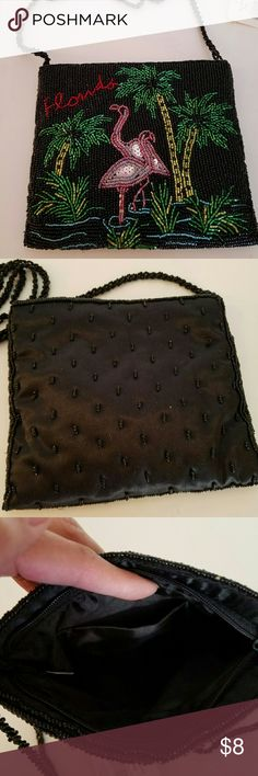 Small beaded bag Black beaded satin with tropical flamingo motif. Wording on front says Florida. All beads are intact, no wear at all. Bag was never used. Bags Mini Bags