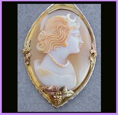 Real Shell Cameo Necklace 10kt Gold Black Hills  Setting Goddess Diana