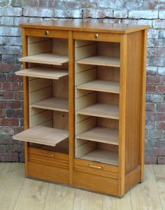 Golden Oak Tambour Filing Cabinet