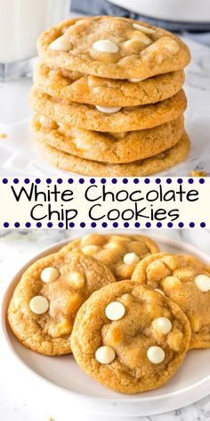 These white chocolate chip cookies are extra soft super chewy and filled with delicious white chocolate in every bite Switch up your chocolate chip cookies by making this. White Chocolate Recipes, Homemade Chocolate Chip Cookies, Chocolate Biscuits, White Chocolate Chips, White Chocolate Cookies, Delicious Chocolate, Chocolate Lovers, Easy Cookie Recipes, Dessert Recipes