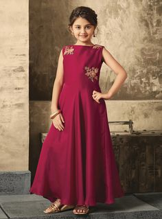 4467bdd1069 Buy Magenta Satin Readymade Kids Gown 146090 online at lowest price from  vast collection at m