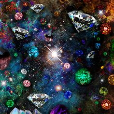 Creator & Universe #art #digitalgraffiti #space #diamonds #emeralds #rubies #katieglantz #design