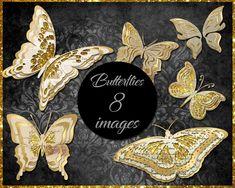 Gold Ephemera Butterfly Clip Art Butterfly Clip Art, Ephemera, Etsy Store, Vibrant Colors, Gold, Vivid Colors, Yellow