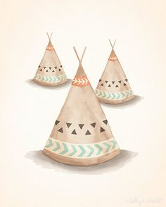 "Teepee Print 8""x10"" Bohemian/Tribal Nursery Art Print - Perfect for Baby Boy Nursery or Baby Girl Nursery, kids wall art on Etsy, $20.00"