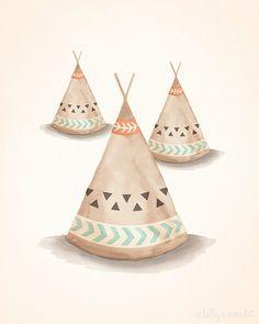"Teepee Print 8""x10"" Bohemian/Tribal Nursery Art Print - Perfect for Baby Boy Nursery or Baby Girl Nursery, kids wall art on Etsy, $20.00"