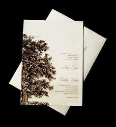 Oak Tree Wedding Invitation Set - Wood Embossed Paper. $5.95, via Etsy.