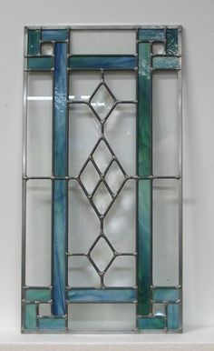 Stained Glass Window Panel - Opaque Green with Diamond Bevels and Clear Glass #StainedGlassKitchen