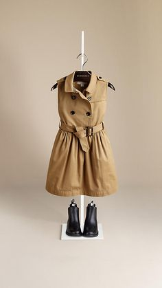 Honey Sleeveless Stretch Cotton Trench Dress - Image 1
