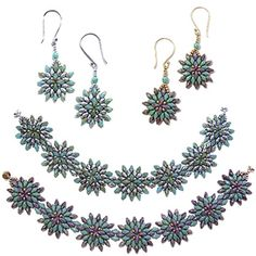 Cosmos Bead Bracelet and Earrings Pattern by Deborah Roberti at Bead-Patterns.com