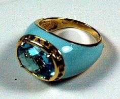 Italian Blue Topaz and Smoky Quartz Enameled Ring
