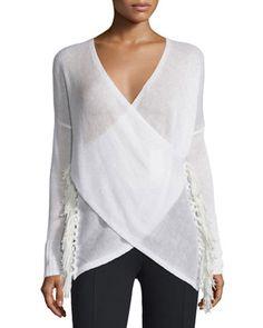 Cross-Front+Tassel+Sweater,+Soft+White+by+Derek+Lam+10+Crosby+at+Neiman+Marcus.