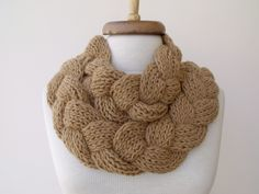 Light Brown Braid Scarf Neckwarmer With Button-Ready for shipping. $42.50, via Etsy.
