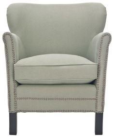 Jenny Arm Chair in Linen with Nailhead Trim on Wood Legs