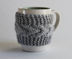 Wish I could sew! But for the latter, Cup Cozy Mug Sleeve Silver Gray by GoodWeather on Etsy, $14.00