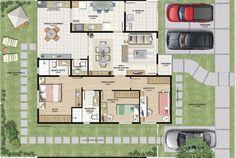 plantas baixas de casas com 3 quartos e piscina - Pesquisa Google