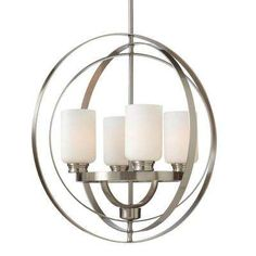 4-Light Brushed Nickel Chandelier with Shade with Etched White Glass Shades