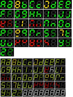 7-Segment Display Extended to all 26 Letters | (Green= good, dark green=lowercase identical to capital, yellow=might be confusing, red=very poor legibility as letter)