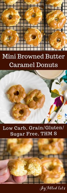 Mini Browned Butter Caramel Donuts - Low Carb, Grain/Gluten/Sugar Free, THM S - These are the perfect addition to your Easter brunch. The donuts are light and moist and the browned butter caramel topping is rich and sweet with a hint of salt. #ad via @joyfilledeats